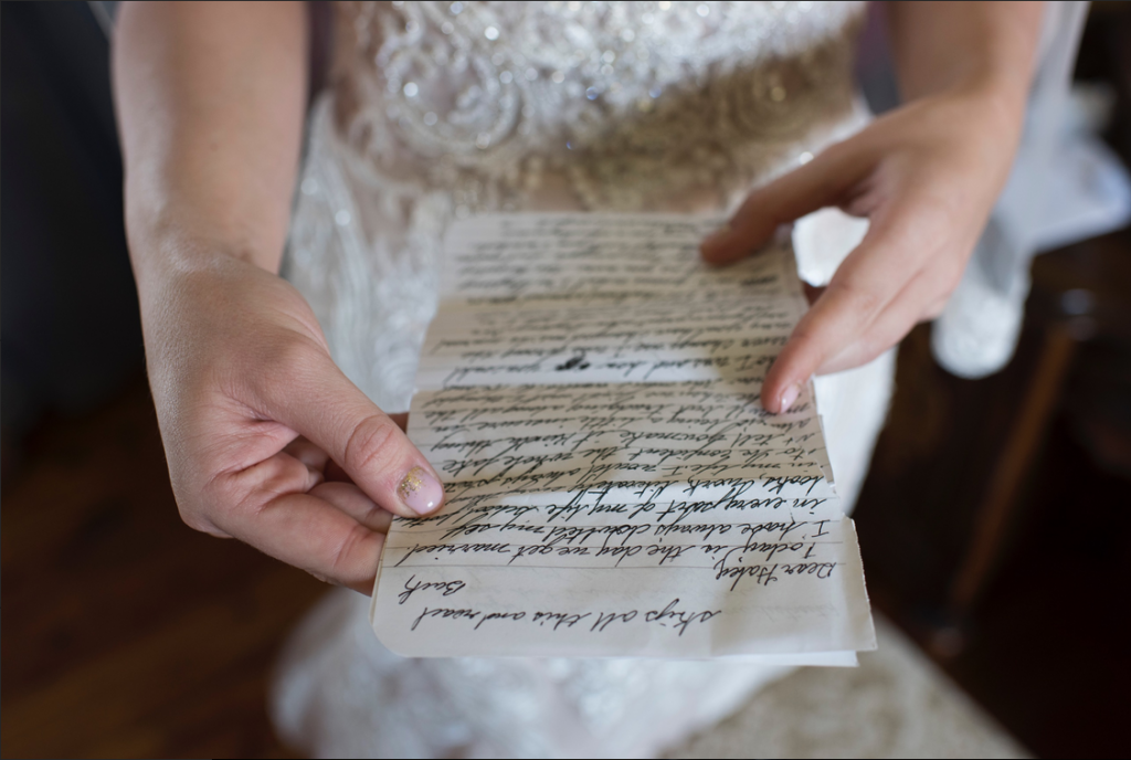 Groom's love letter to his bride