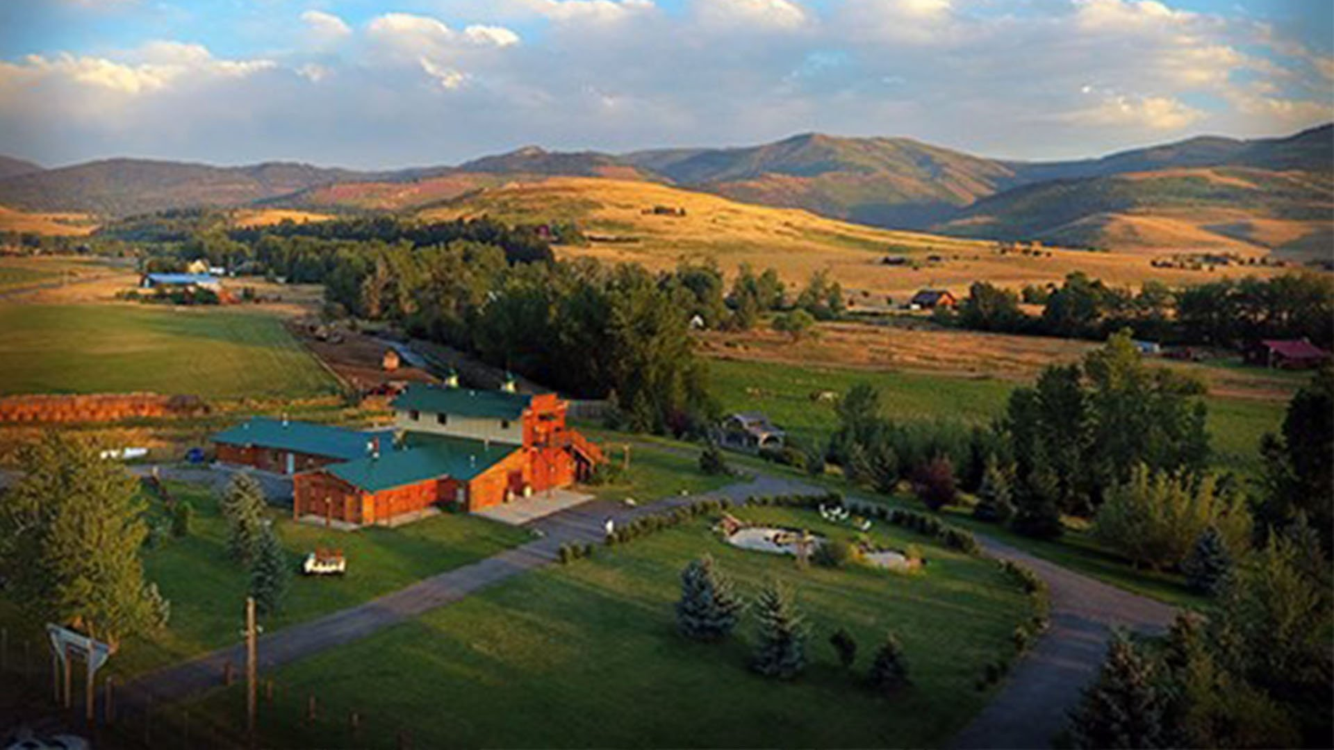 Aerial View of Hart Ranch in Gallatin Gateway Montana near the Spanish Peaks