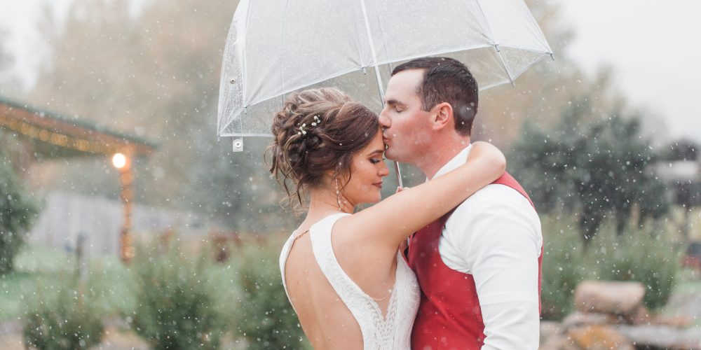 Groom kisses brides forehead while she embraces him and holds a clear umbrella over them in the snow