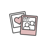 Black and pink polaroid icon