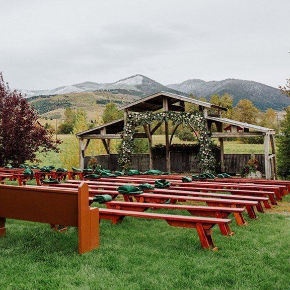 Hart Ranch Wedding's Two Heart Chapel ceremony site setup