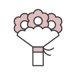 Black and pink flower bouquet icon