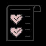 Black and pink checklist icon